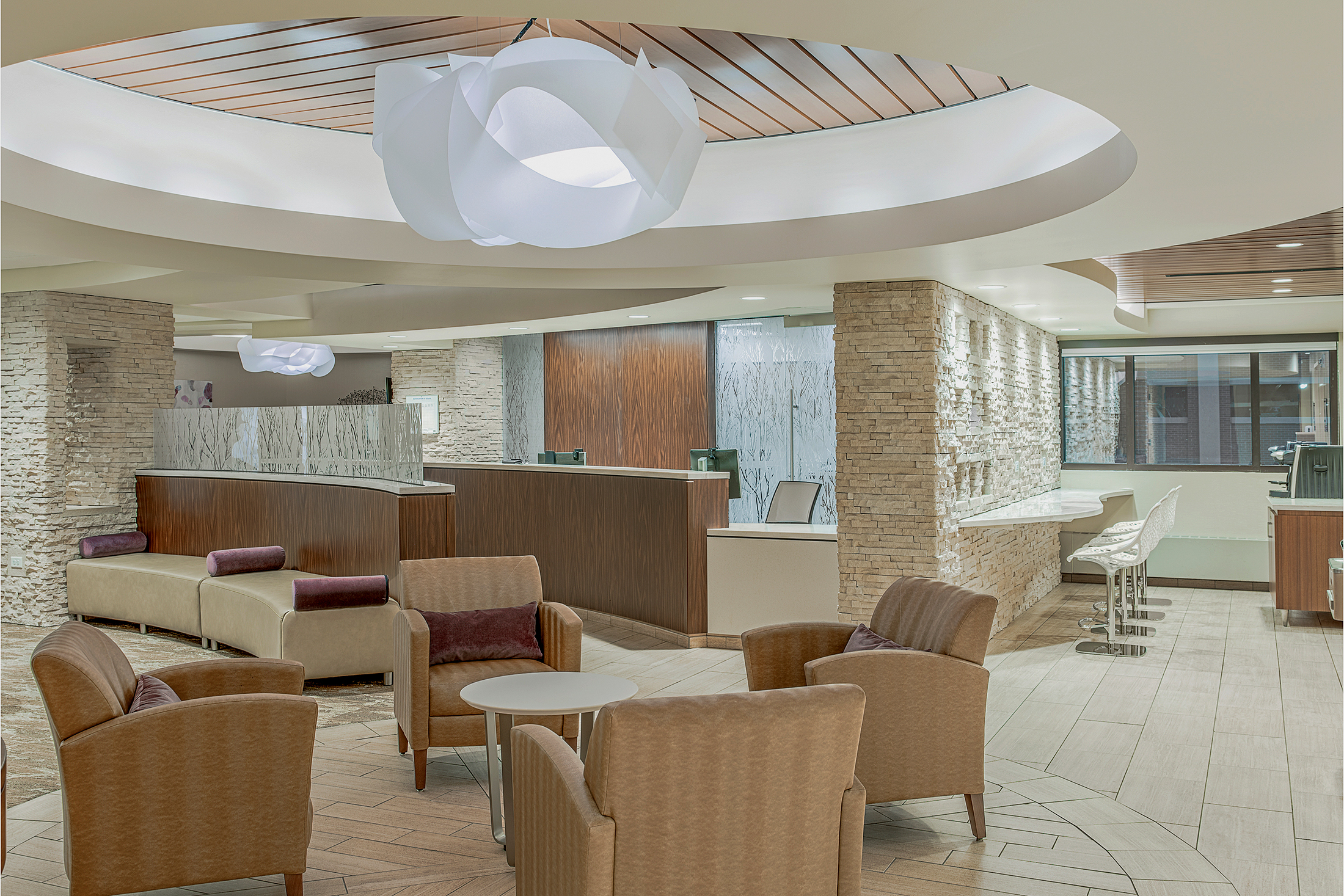 Porter Breast Care Center | Ribbon Cloud Chandelier