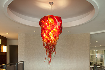 Lightart icicle chandelier ostra restaurant red icicle chandelier office aloadofball Gallery